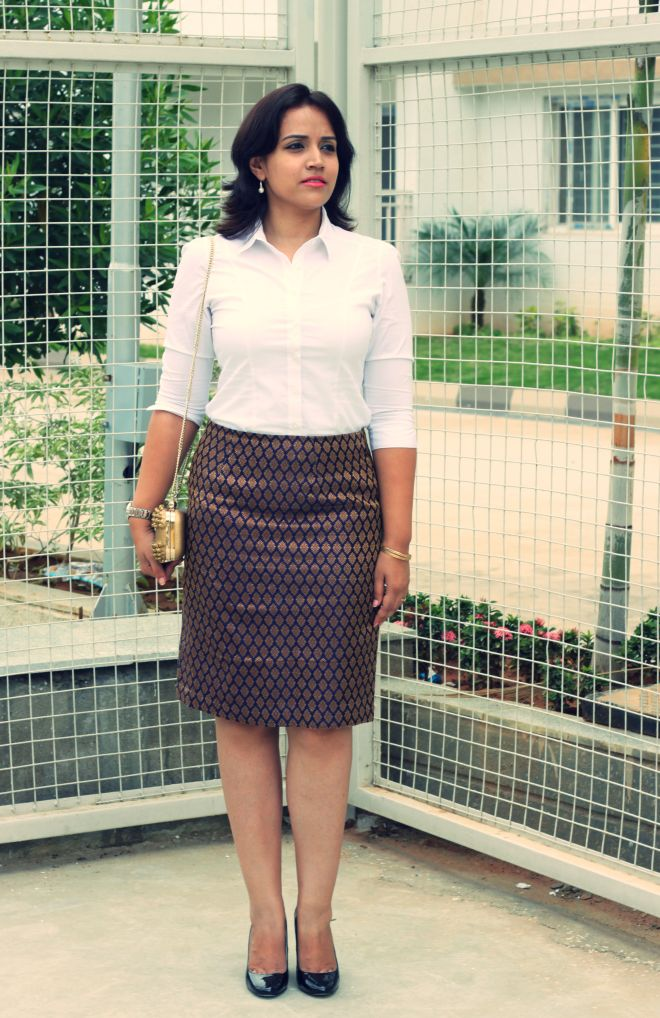 brocade Skirt with White sHIRT -5