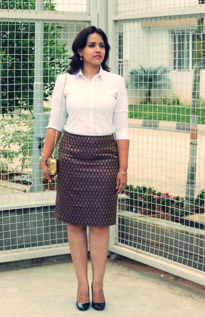 brocade Skirt with White sHIRT -5