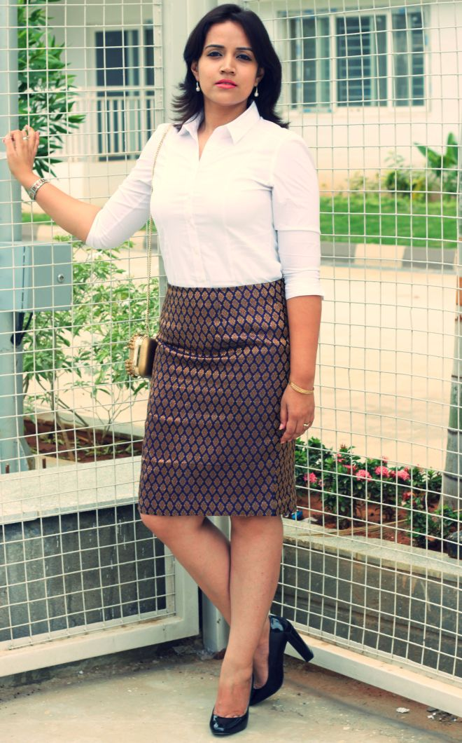 brocade skirt with white shirt