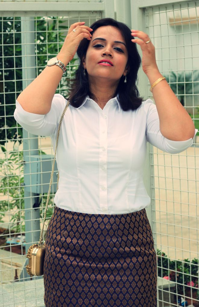 Suede Clutch Brocade Skirt with White Shirt - 4