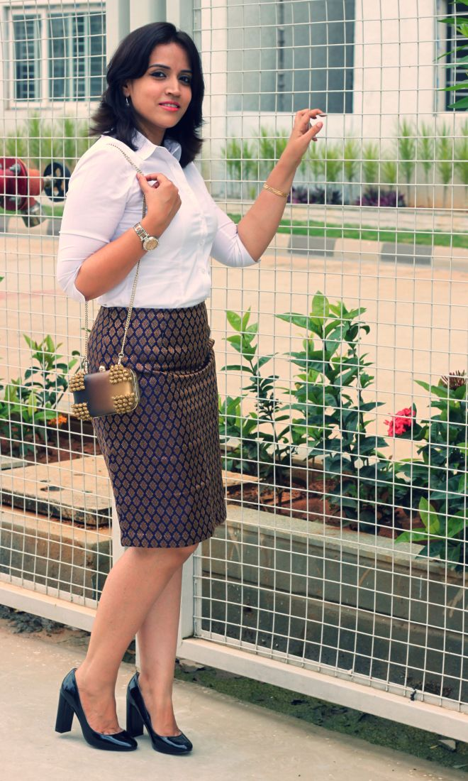 Suede Clutch with Brocade Skirt and White Shirt -1